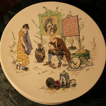 One of a set of 7 Faience plates - Sarreguemines - Story Plate by Froment Richard - Pottery