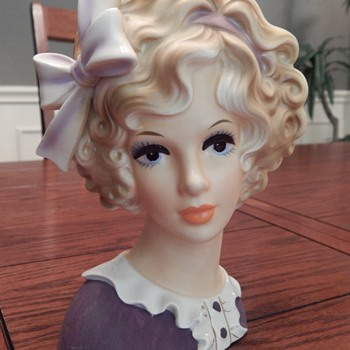 Curly hair with lavender bow - lady head vase