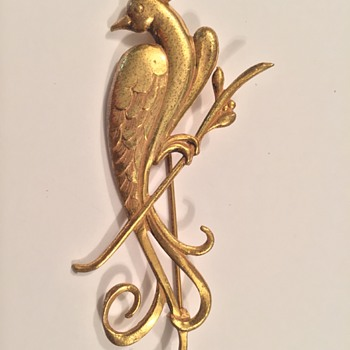 "Miriam Haskell Gilded Gold ""Phoenix"" Brooch/Pin - Costume Jewelry"