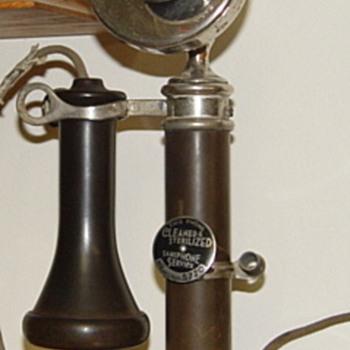 Julius Andrea candlestick phone with Red Cross mouthpiece