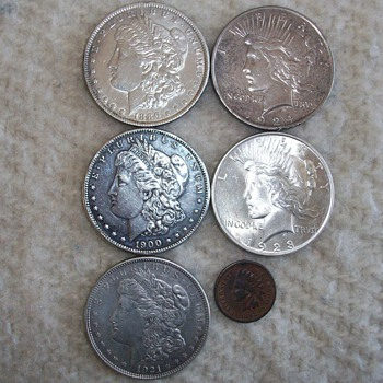 Just A Few Morgan Silver Dollars and Peace Dollars