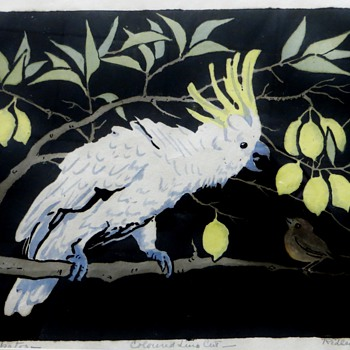Orig. Lino-cut by Australian Artist Ursula Ridley Walker~of Cockatoo, Bird, & Lemons - Posters and Prints