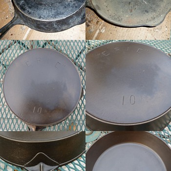 ERIE 10 cast iron skillet before & after