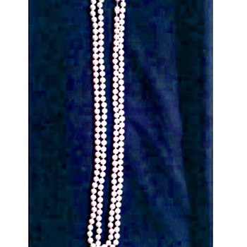 "30"" Faux Pearl Necklace / Rhinestone Studded Slide Clasp /Unknown Age - Costume Jewelry"