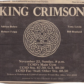 King Crimson Concert Clippings - Music Memorabilia