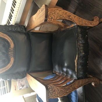Antique leather rocking chair - Furniture