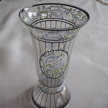 Help Identify Unusual Art Glass Enameled Vase - Art Glass