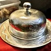 Antique Zeesung Silver Dragon Pattern Butter Dish with Dome