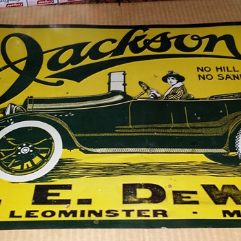 1900s. Jackson Motorcar original tin sign. 20x13inch. 8.5grade - Advertising