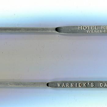 Vintage Swizzle Sticks.....Wilkes-Barré, PA - Advertising