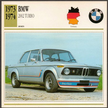 Vintage Car Card - BMW 2002 Turbo - Classic Cars