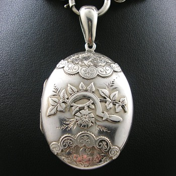 Victorian Silver Mourning Locket Sickle and Rose - Fine Jewelry