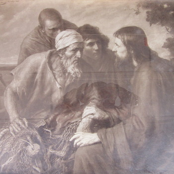 1898 Jesus fishing art work Signed and dated - Fine Art