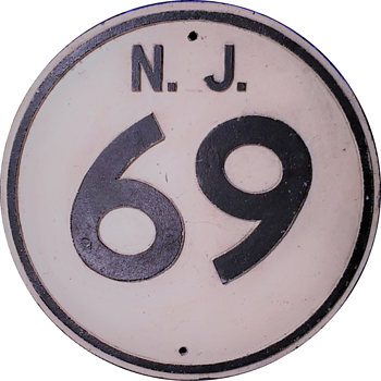 1950s Cast Aluminum NJ Route 69 Shield - Signs