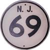 1950s Cast Aluminum NJ Route 69 Shield