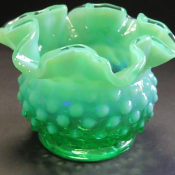 Fenton Emerald Green Opalescent Hobnail Vase - Glassware