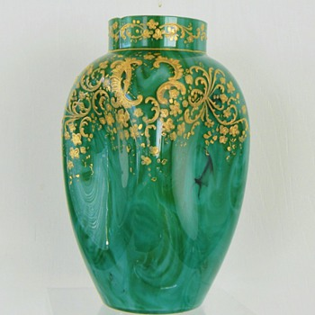 Early Loetz Marmoriertes Malachit DEK Prod. Nr. I/200 Enamelled Vase Retake Pics - Art Nouveau