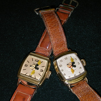 Two variations of 1946 Kelton US Time Mickey Mouse watches - Wristwatches
