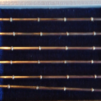 950 silver Japanese ice tea straws with charms! And Barry Bondszai!! - Silver