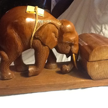 Wooden elephant with box that opens