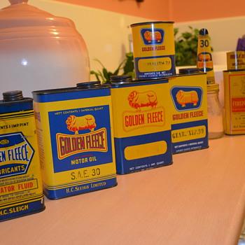 Golden Fleece oil tins - Petroliana
