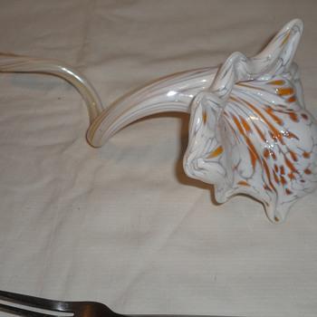 Orange and White Art glass flower - Art Glass