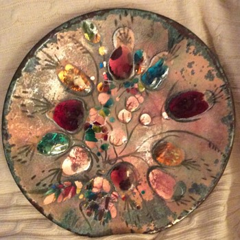 California Cloisonne Decorative Plate - Mid-Century Modern