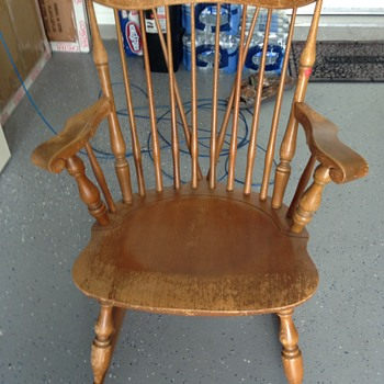 Just got it.. old maple wood the back has two spindles that cross in the middle never seen this type. - Furniture
