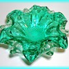 MURANO Art Glass Bowl -- Greenish Blue Color