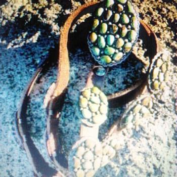 Turquoise Ethnic, Regional & Tribal Concho Cluster Belt Daniel Martinez Navajo