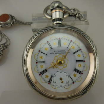 Waltham Model 1883 Private Label Pocket Watch with Sterling Silver Case and Rose Gold Accents
