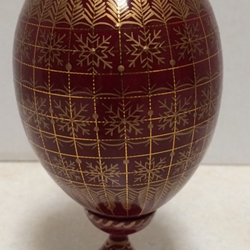 Hand Painted Wooden Russian Egg On Stand