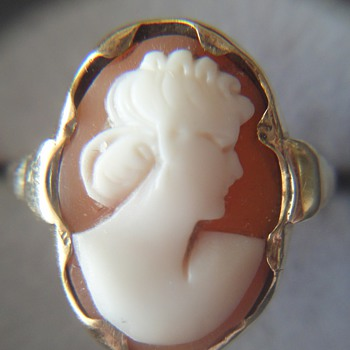 Beautiful antique carved cameo ring 14K - Fine Jewelry
