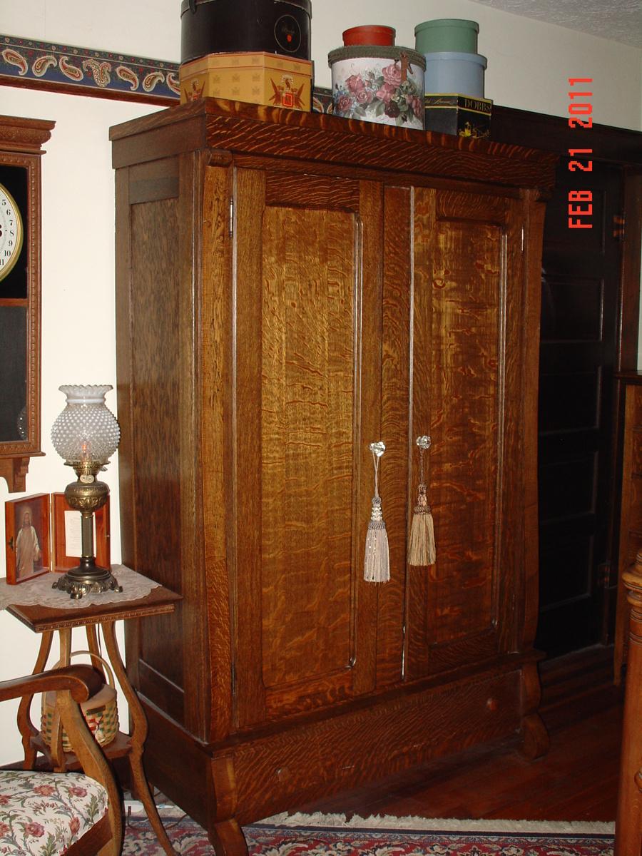 Tiger Oak Two Door Knockdown Wardrobe With Bottom Drawer   Collectors Weekly