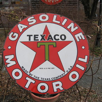 Lg. Texaco One sided Porcelain Sign leaning against my Iron Cow!! - Petroliana