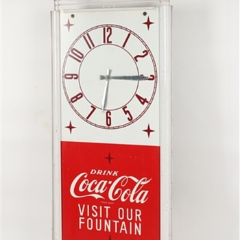 "1950's 64"" x 24"" Coca-Cola Tin Litho Clock - Coca-Cola"