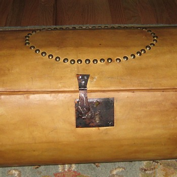 Early 1800's Round Leather Covered Trunk