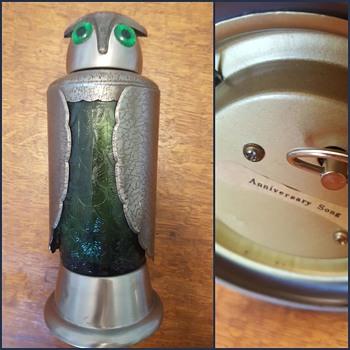 Owl Decanter Shaker - Metal - Green Glass, Music Box - Animals