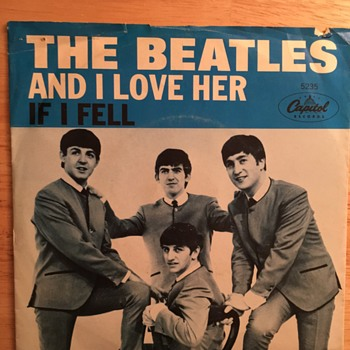 And I Love Her/If I Fell- picture sleeve-1964 - Music Memorabilia