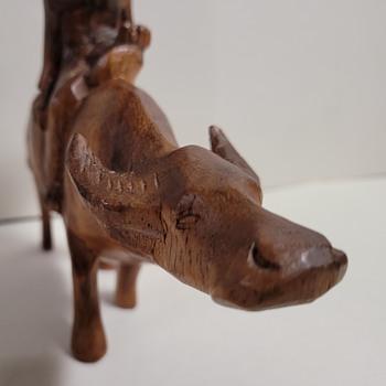 Asian Wood Carving - Man Riding Water Buffalo - Folk Art
