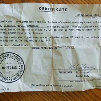 "Any Value to a WW2 US ""Captured Enemy Equipment"" Certificate - Military and Wartime"