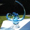Light blue leaded glass bowl