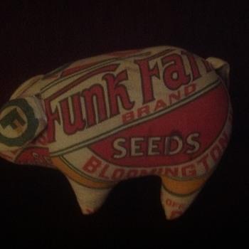 Funk farms seed bag stuffed pig - Folk Art