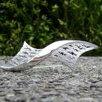 Crown Trifari Ribbon Brooch - Costume Jewelry