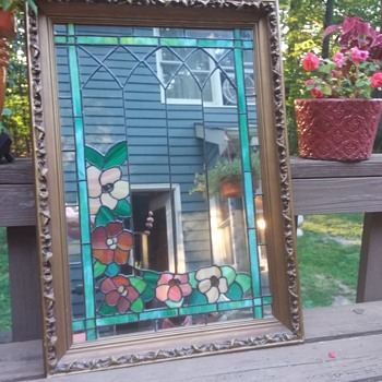 Leaded Glass Mirror With Ornate Wood Frame 1966