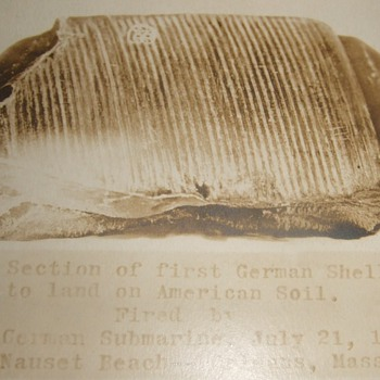 Shell fragment from German U-boat attack on US soil WW1 - Photographs