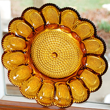 Deviled Eggs Serving Platter_Indiana Glass Hobnail Honey Amber  - Glassware