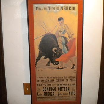 Original Spanish Bull Fighting Poster - Advertising
