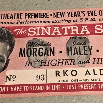 frank sinatra 1943 new years eve theatre ticket stub  higher and higher  - Music Memorabilia