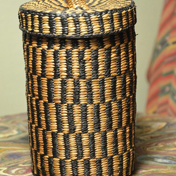 Antique Hupa Lidded Tobacco Basket